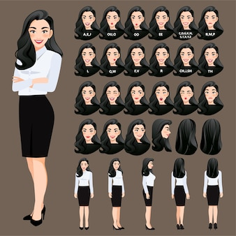 Collection of businesswoman cartoon character