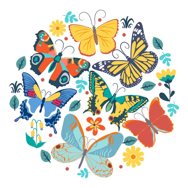 Collection of butterflies in a circle.