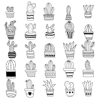 Collection of cactus doodles