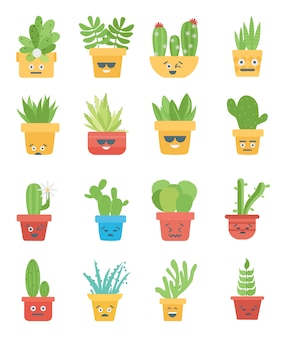 Collection of cactus and succulents emoji smiley premium vector