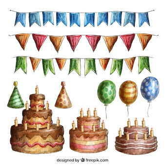 Collection of cakes and watercolor birthday decoration