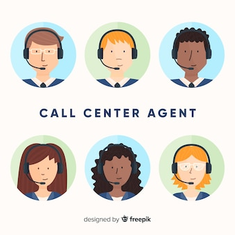 Collection of call center avatars in flat style