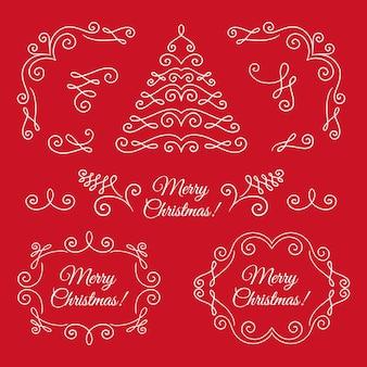 Collezione di decorazioni natalizie calligrafiche