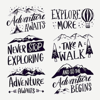 Collection of camping and adventures lettering