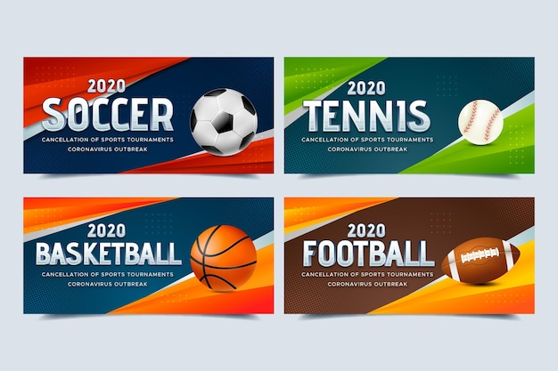 Collection of cancelled sports event banners