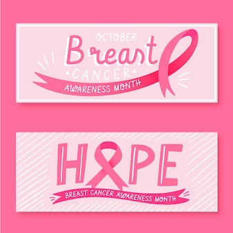 Collection of cancer awareness month banners