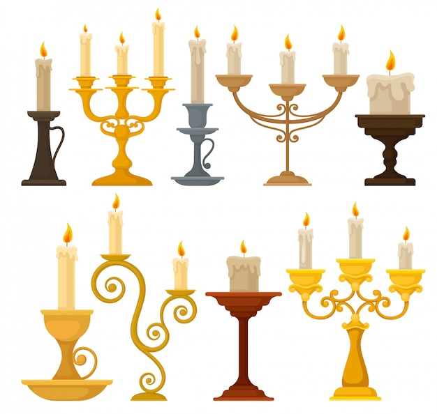 Collection of candles in candlesticks, vintage candle holders and candelabrums  illustration on a white background