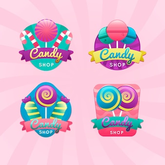 Collection of candy store logos for the company in gradient style