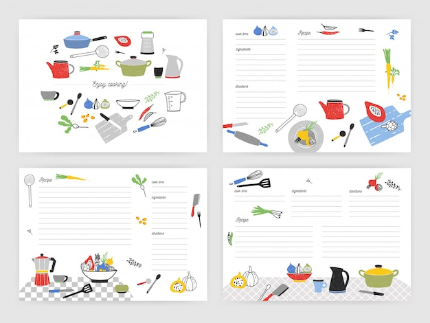Collection of card templates for making notes about preparation of food. blank recipe book or cookbook pages decorated with colorful kitchen utensils and cooking ingredients.   illustration.