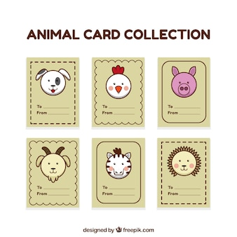 Collection of card with animal faces