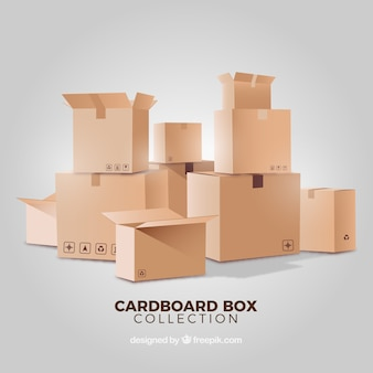 Collection of cardboard boxes in realistic style