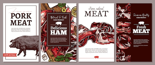 Collection of cards, posters, labels or tags for meat farm natural products.