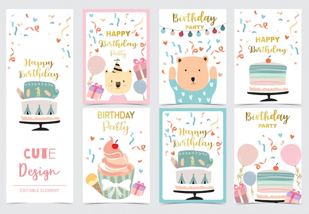 Collection of cards set with cake