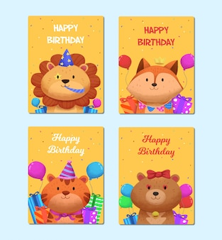 Collection of cards set with cute animal characters