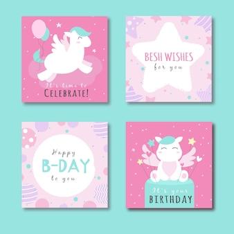 Collezione di carte con animali alla festa di compleanno