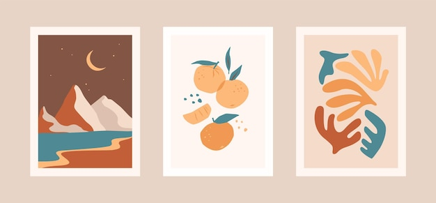Collection of cards with leaves, fruits and landscape