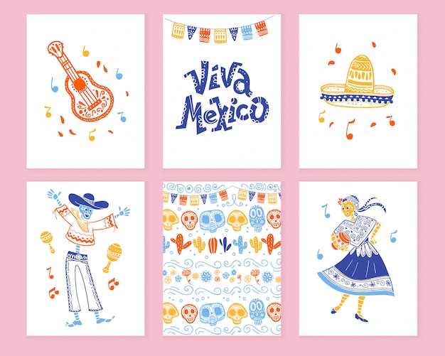 Collection of cards with traditional decoration for mexico day dead party, dia de los muertos celebration in flat hand drawn style. lettering congratulation, guitar, sombrero, skeleton, pattern