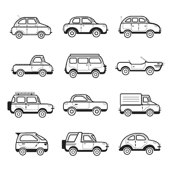 Collection of cars and trucks illustration