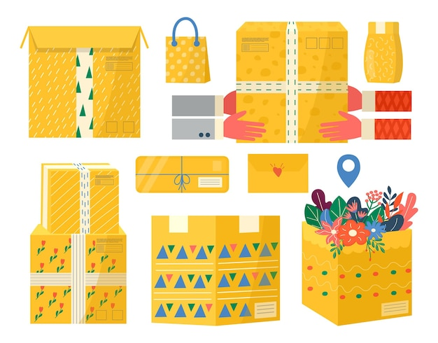 Collection of carton packages with adhesive tape for delivery icons. set of postal parcels, packs, boxes, letters, envelopes. courier holding in hand parcel for online delivery service concept. vector