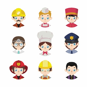 Collection of cartoon avatars of people depicting jobs