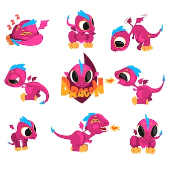 Collection of cartoon baby dragon for game
