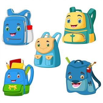 Collection cartoon bagschool smiling face