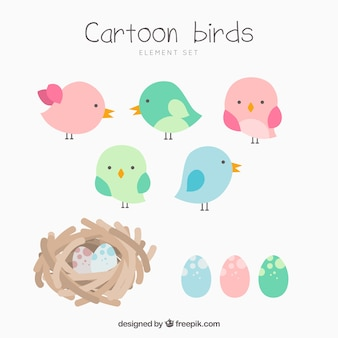 Collection of cartoon birds and nests