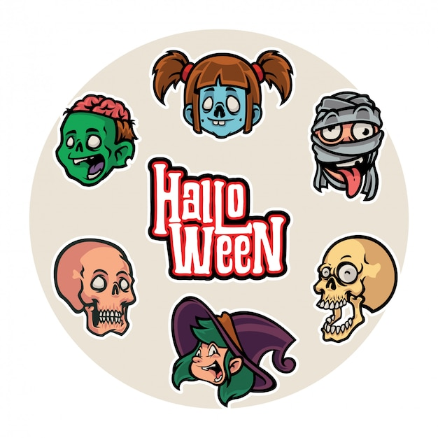 Collection of cartoon character head halloween stickers vector set