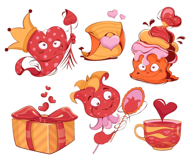 Collection of cartoon characters in the form of heart cupcake and flower