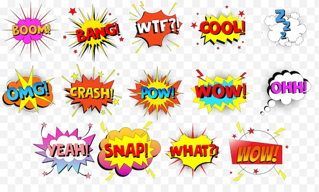 Collection of cartoon, comic speech bubbles.