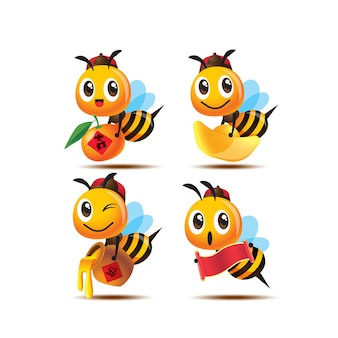 Collection of cartoon cute bee holding different chinese new year element set