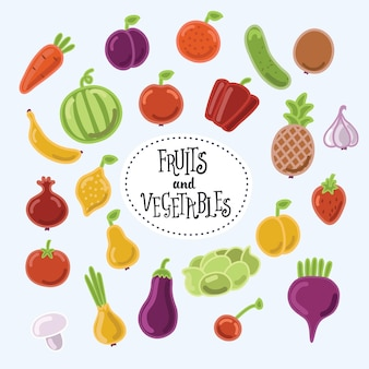 Collection of cartoon cute illustrations of fruits and vegetables
