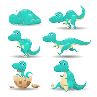 Collection of cartoon dinosaurs