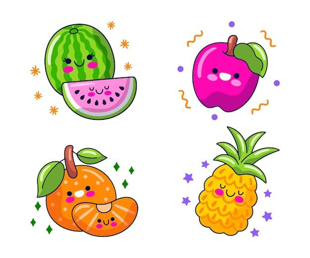 Raccolta di personaggi dei cartoni animati di cibo