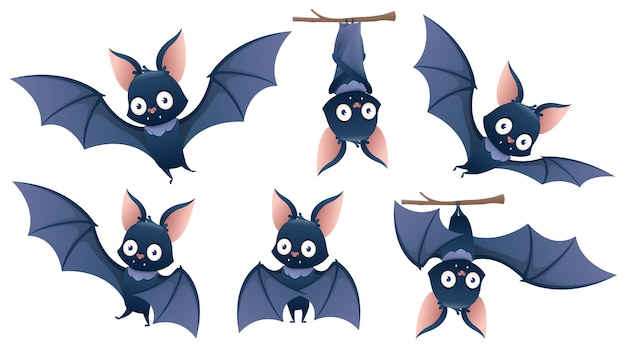 Collection of cartoon halloween bat hanging upside down on a branch