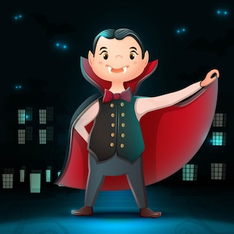 Collection of cartoon halloween character dracula with dark city background, bats and glow in the darkness.