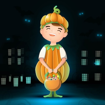Collection of cartoon halloween character pumpkin with dark city background, bats and glow in the darkness.