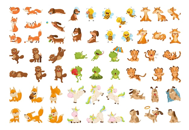Collection of cartoon illustrations with animals