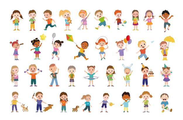 Collection of cartoon illustrations with childrens.