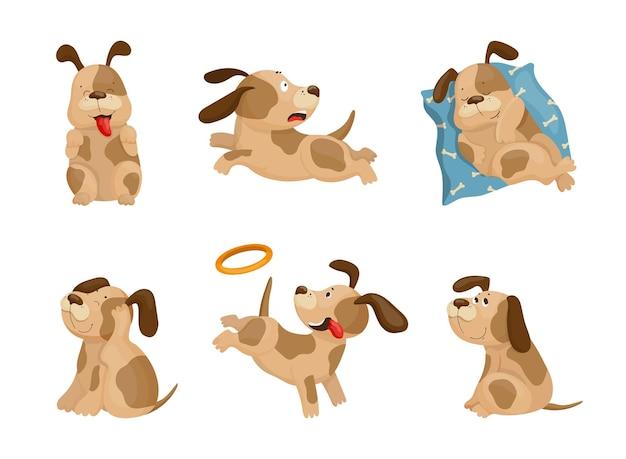 Collection of cartoon illustrations with a dog