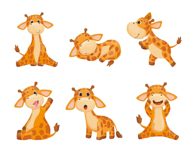 Collection of cartoon illustrations with giraffes