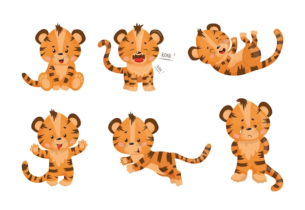 Collection of cartoon illustrations with tiger