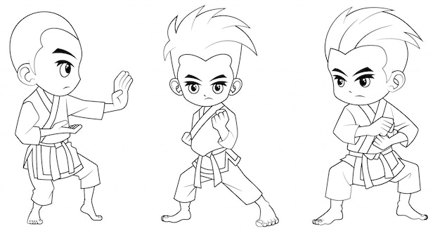 Collection of cartoon karate kid used for coloring book