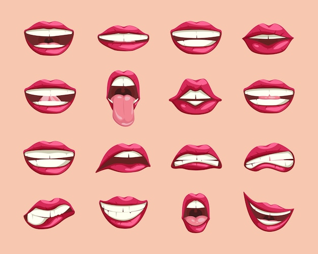 Collection of cartoon lips.
