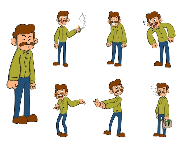 Collection of cartoon man isolated on white