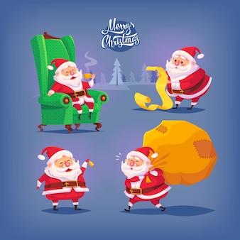 Collection of cartoon  santa claus icons. christmas illustration.