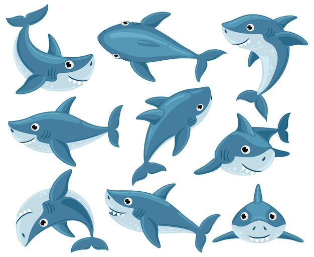 Collection of cartoon sharks isolated on white