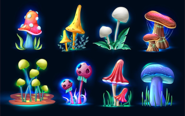 Collection of cartoon style magic fantasy mushrooms glowing in the dark isolated