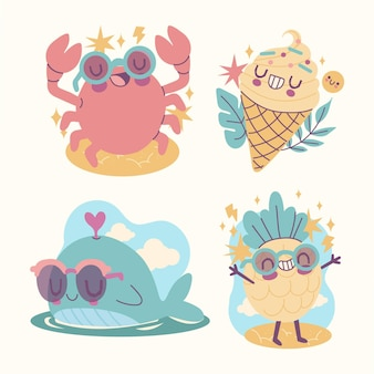 Collection of cartoon summer stickers