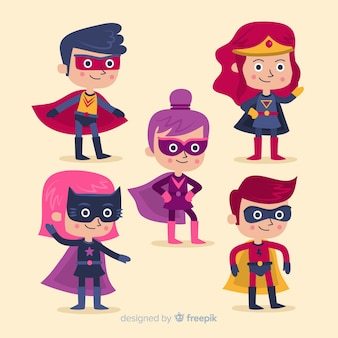 Collection of cartoon superheroes